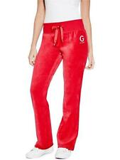 GUESS Womens Track Pants Stretch Velour Bootcut Leisure Lounge XS or S Red NWT
