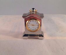 """Wallace Silver & Gold Tone Miniature Mantle Clock 2"""" Tall"""