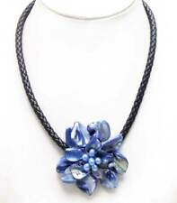 SALE 70mm Dark Blue Baroque Shell Flower & Pearl pendant 18'' Rope Necklace-6359