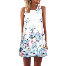 Women Casual Summer Sleeveless Sundress Flower Printed Beach Mini Dress