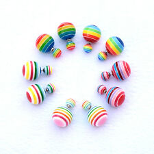 Double sided Multi color Striped Faux Pearl Earring