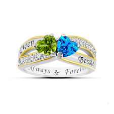 925 Silver Personalized Two Heart Birthstone Name Engraved Promise Ring