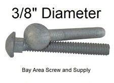 """Galvanized Carriage Bolts 3/8"""" -16 x 4"""" (100) wwo Hex Nuts & Flat Washers"""