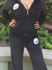 SEXY-BRAND NEW-SWEATSUIT-PITTSBURGH STEEELERS-VELOUR-BLACK-HOODIE-T-JERSEY-SMLXL