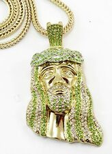 Clear Green CZ Gold Finish Iced Out Jesus Piece Pendant Long Franco Chain 36'' #