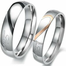 "Stainless Steel His and Hers Lover Matching Heart Promise Ring ""Real Love""  Band"