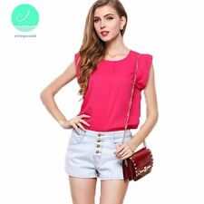O Neck Butterfly Sleeve Chiffon Solid Short Brief Casual Lotus Leaf T-shirt
