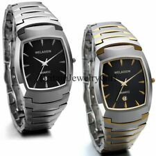 Luxury Tungsten Steel Band Square Dial Date Analog Quartz Mens Dress Wrist Watch