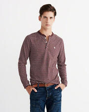 Abercrombie & Fitch Mens T-Shirt Henley Icon Long Sleeve XL Burgundy Stripe NWT