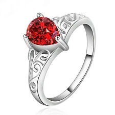 Unisex Waterdrop Faux Ruby Zircon Silver Plated Solitaire Ring Love Gift Nimble