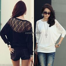 Fashion Women Batwing Top Dolman Long Sleeve Lace Loose T-Shirt Blouse CLSV01
