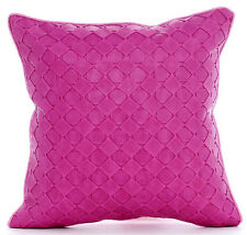 Pink Leather Weave - 30x30 cm Faux Leather Pink Throw Cushions Cover