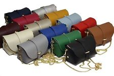 Ladies designed evening clutch Leather Handbag with detatchable gold chain strap