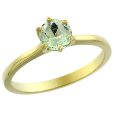 14K Yellow Gold Natural Green Amethyst Solitaire Ring Round 6mm, sizes 5 - 10