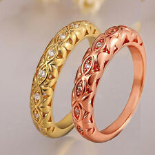 18K Yellow Gold Filled Rings Rhinestone Womens New Jewelry Charm Band Ring