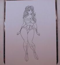 "WONDER WOMAN INK DRAWING 8.5""x11"" ORIGINAL COMIC ART PRINT by Key"