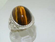 Gents Solid Sterling Silver Natural Tigers Eye Mens Signet Ring