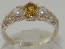 Ladies Solid 925 Sterling Silver Natural Citrine & Pearl Victorian Ring