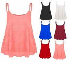 WOMENS LADIES FLORAL LACE LINED MESH CAMISOLE STRAPPY CAMI FLARED SWING VEST TOP
