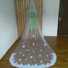 3M Long Ivory/White 2 Layer Lace Appliques Cathedral Length Bridal Wedding Veil