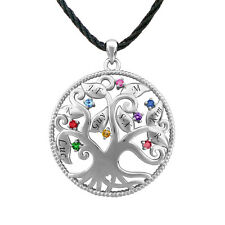 Family Tree Necklace, Personalized Silver Birthstones & Engraving Necklace