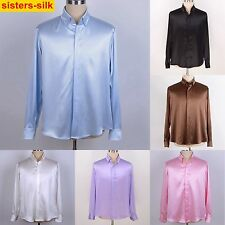 Mens 22Momme 100% Pure Silk Business Dress Shirts Long Sleeve Button Down Collar