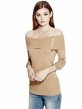 GUESS Womens Sweater Blouse Sexy Off Shoulder Top Jumper Zips L Light Brown NWT