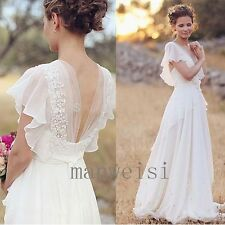 Long V-back Chiffon Wedding Dress Bridal Gown Custom Size 4 6 8 10 12 14 16 18+