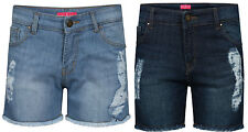 UK Womens Ladies  Mid Waist Stretch ripped Denim Jeans Shorts Hotpants Size 8-16