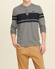 Abercrombie & Fitch - Hollister Mens T-Shirt Striped L/S Henley L or XL Grey NWT