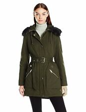 GUESS Womens Parka Anorak Jacket Belted Quilted Inside w- Fur Trim M Olive NWT
