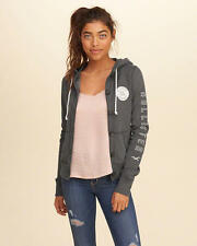 Abercrombie & Fitch – Hollister Womens Hoodie Button Front Graphic XS Grey NWT