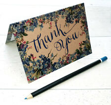 Thank you cards, set 10, 5 or 1 floral thank you card, wedding card, blue floral