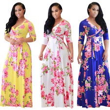 Womens sexy deep v front lace up floral boho beach party long maxi dress