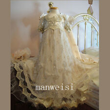 Luxury Beads Christening Dress Short Sleeve Long First Communion Baptism Gowns