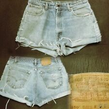 "Women's 34"" High Waist Distressed Levi's Cutoff ""Mom Jeans"" Shorts NICE! #V1"