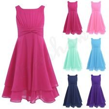 Girls Chiffon Knotted Waist Formal Flower Princess Pageant Wedding Party Dress