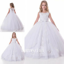 White Lace Flower Girl Dresses Bridesmaid Ball Formal Gowns Sequins Pageant Kids