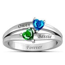 925 Sterling Silver Personalized Birthstones Promise Ring Name Engraved Jewelry