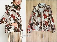 ZARA PRINTED WATER REPELLENT ZIPPED JACKET WITH DETACHABLE HOOD SIZE XS S L