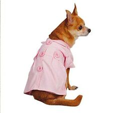 Precious East Side Collection Cotton Jacqueline Trench Dog Coat,Teacup Pink