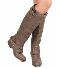 Breckelles Outlaw-81 Western Buckle Straps Decor Knee High Boots - TAUPE PU
