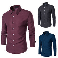 Classic Mens Long Sleeve T-shirt Casual Slim Fit Blouse Dress Shirts Tops Tees