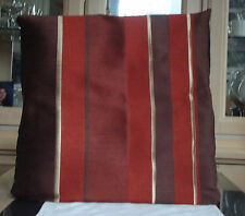 DEEP BURNT ORANGE / BROWN AND GOLD STRIPED DESIGN CUSHION COVER
