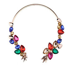 Necklace Charms Statement 1Pcs New Crystal Flowers Necklace Metal Inlaid Chain
