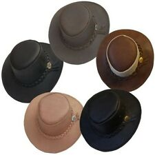 NEW AUSTRALIAN AUSSIE OUTBACK BUSH HAT BUFFALO LEATHER AKUBRA STYLE