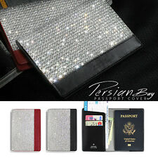 Bling Crystal Diamond Genuine Leather Passport Cover Case Travel Wallet Holder