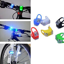 1X Silicone Bike Bicycle Cycling Head Front Rear Wheel 2 LED Flash Light Lamp