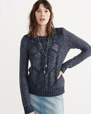 Abercrombie & Fitch Womens Sweater Chunky Cable Crew Pullover S or M Navy NWT