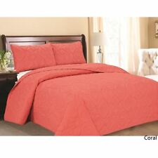 Queen Cal King Bed Coral Beach Coastal Seashells 3 pc Quilt Set Coverlet Bedding